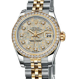 Rolex Lady-Datejust 26 179383 Jubilee Gold Crystals set with diamonds