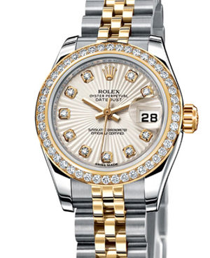 Rolex Lady-Datejust 26 179383 Ivory-coloured Sunbeam set with diamonds