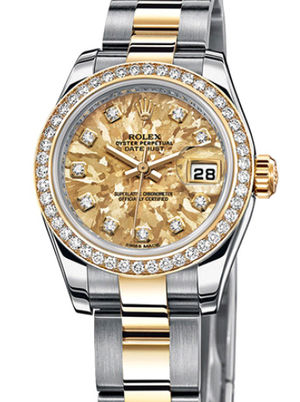 Rolex Lady-Datejust 26 179383 Yellow Gold Crystals diamonds Oyster