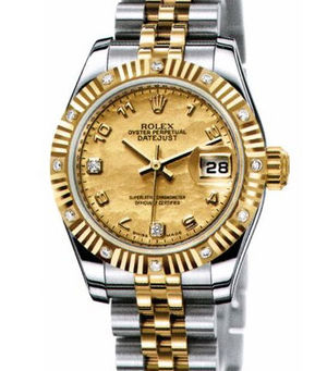 Rolex Lady-Datejust 26 179313 Champagne Goldust Mother of Pearl diamonds