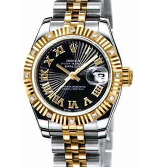 Rolex Lady-Datejust 26 179313 Black Sunbeam dial  Roman numerals