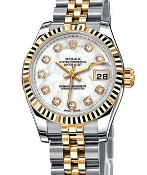 Rolex Lady-Datejust 26 179173 white mother of pearl diamond dial jubilee