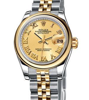 Rolex Lady-Datejust 26 179163 champagne Roman dial Jubilee