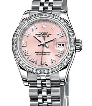 Rolex Lady-Datejust 26 179384 pink Roman dial Jublilee