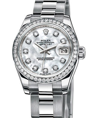 Rolex Lady-Datejust 26 179384 white mother of pearl diamonds dial Oyster