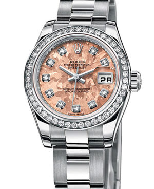 Rolex Lady-Datejust 26 179384 Pink Gold Crystals diamonds dial Oyster