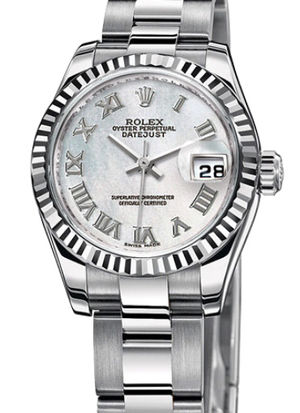 Rolex Lady-Datejust 26 179174 white mother of pearl Roman dial Oyster