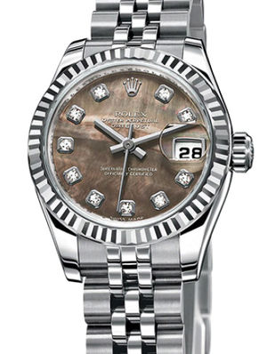 Rolex Lady-Datejust 26 179174 black mother of pearl diamond dial Jublilee
