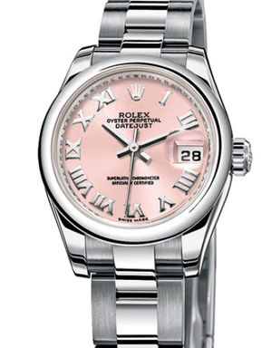 Rolex Lady-Datejust 26 179160 pink Roman dial Oyster