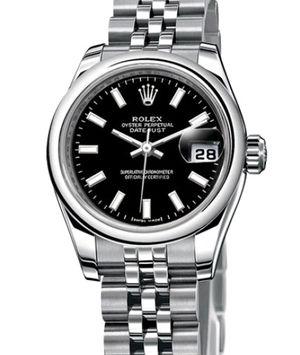 Rolex Lady-Datejust 26 179160 black index dial Jublilee