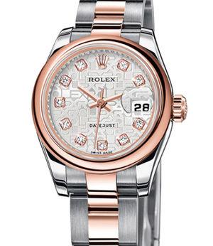 Rolex Lady-Datejust 26 179161 silver jubilee diamond dial Oyster