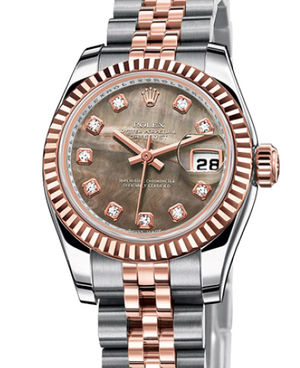 Rolex Lady-Datejust 26 179171 Black mother-of-pearl diamond dial Jubilee