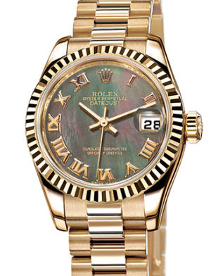 Rolex Lady-Datejust 26 179178 Black mother-of-pearl Roman dial