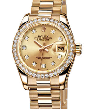Rolex Lady-Datejust 26 179138 champagne diamond dial