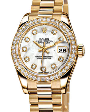 Rolex Lady-Datejust 26 179138 white mother-of-pearl diamond dial