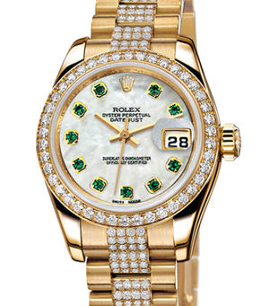 Rolex Lady-Datejust 26 179138 White mother-of-pearl emeralds dial