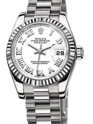 Rolex Lady-Datejust 26 179179 white Roman dial President
