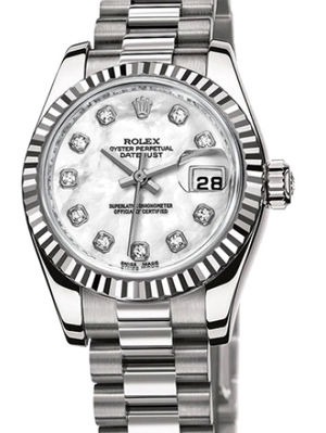 Rolex Lady-Datejust 26 179179 white mother of pearl diamond dial Presiden