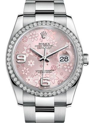 Rolex Datejust 36 116244 Pink floral motif Oyster Bracelet
