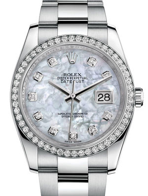 116244 White mother-of-pearl diamonds Oyster Brace Rolex Datejust 36