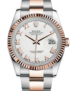 116231 white Roman dial Oyster Rolex Datejust 36
