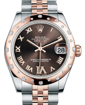 Rolex Datejust 31 178341 chocolate diamond Roman IV dial Jubilee