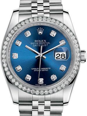 Rolex Datejust 36 116244 Blue set with diamonds Jubilee Bracelet