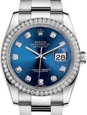 Rolex Datejust 36 116244 Blue set with diamonds Oyster Bracelet