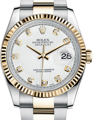 116233 white diamond dial Oyster Rolex Datejust 36