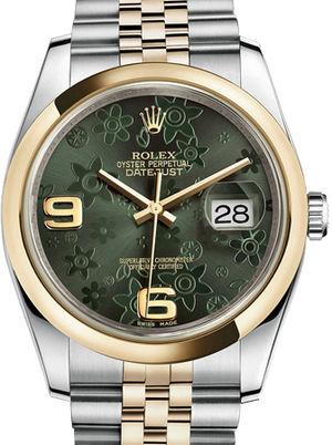Rolex Datejust 36 116203 Green floral motif Jubilee Bracelet