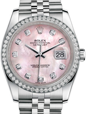 116244 Pink mother-of-pearl diamonds Jubilee Brace Rolex Datejust 36