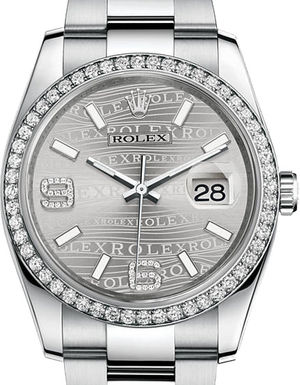 Rolex Datejust 36 116244 Rhodium waves dial Oyster Bracelet