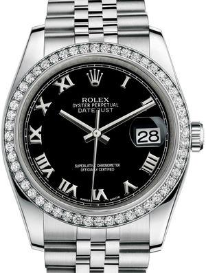 116244 Black Roman Jubilee Bracelet Rolex Datejust 36