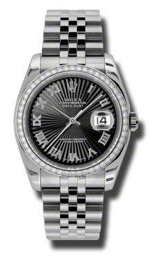 116244 black sunbeam Roman numerals Rolex Datejust 36