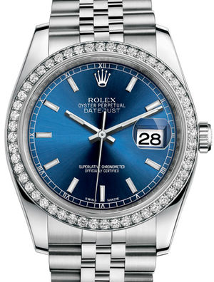 116244 Blue index Jubilee Bracelet Rolex Datejust 36