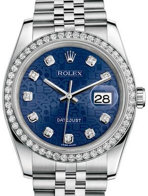 Rolex Datejust 36 116244 Blue jubilee diamonds Jubilee Bracelet