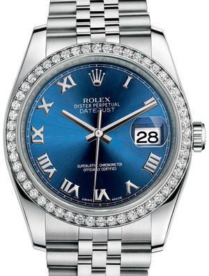 116244 Blue Roman Jubilee Bracelet Rolex Datejust 36