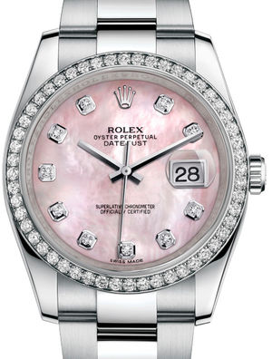 116244 Pink mother-of-pearl diamonds Oyster Rolex Datejust 36