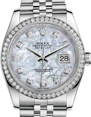 116244 White mother-of-pearl diamonds Jubilee Rolex Datejust 36
