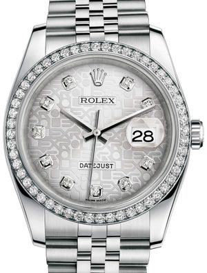 Rolex Datejust 36 116244 Silver Jubilee design diamonds Jubilee