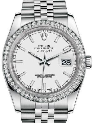 116244 White index Jublilee Bracelet Rolex Datejust 36