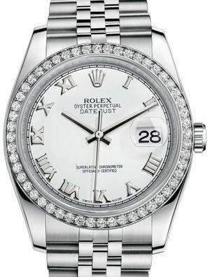 Rolex Datejust 36 116244 White Roman Jubilee Bracelet