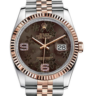 116231 brown floral diamonds dial Jubilee Rolex Datejust 36