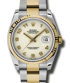 116233 ivory Jubilee Arabic numerals dial Oyster Rolex часы Steel and Gold Yellow Gold - Fluted Bezel - Oyster