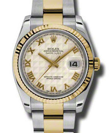 116233 ivory pyramid dial Oyster Rolex Datejust 36