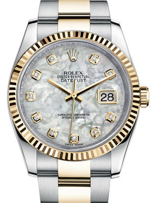 116233 White mother-of-pearl diamond Oyster Rolex Datejust 36