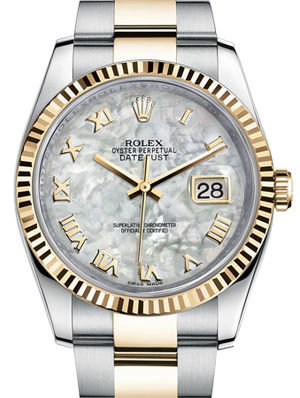 116233 White mother-of-pearl Roman Oyster Rolex Datejust 36