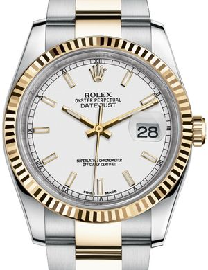 116233 White index dial Oyster Rolex Datejust 36
