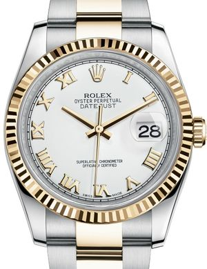 116233 white roman dial Oyster Rolex Datejust 36