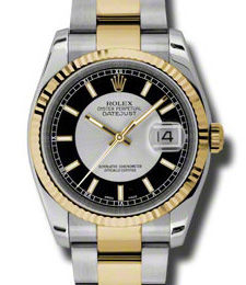 Rolex Datejust 36 116233 black silver dial stick Oyster